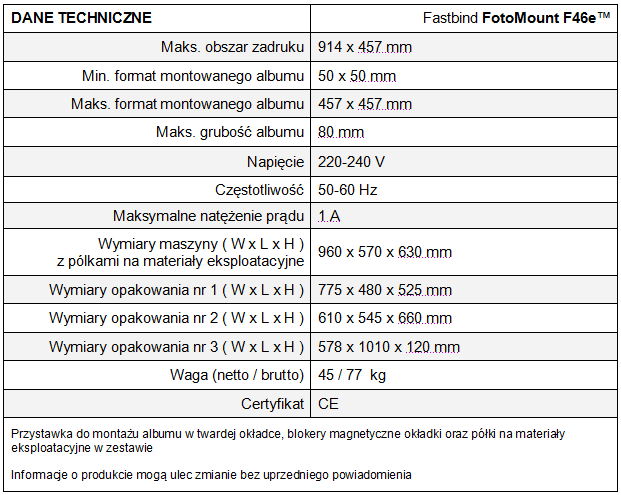 FotoMount F46e - tabela